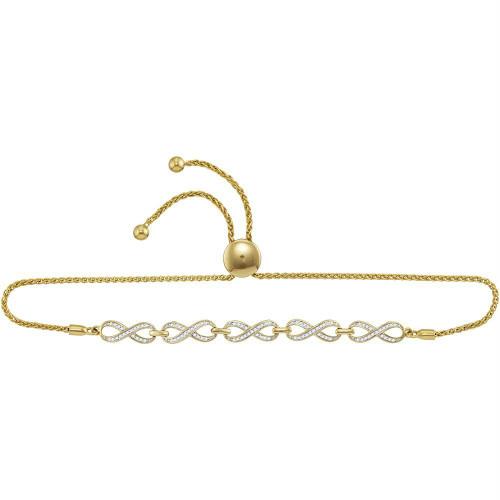 10kt Yellow Gold Womens Round Diamond Linked Infinity Bolo Bracelet 1/4 Cttw