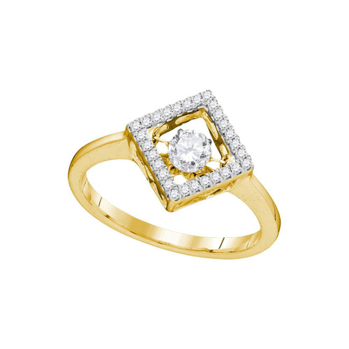 10kt Yellow Gold Womens Round Diamond Moving Twinkle Solitaire Diagonal Square Ring 1/5 Cttw