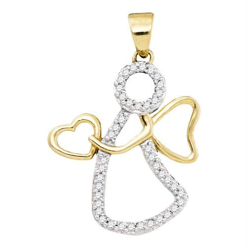 10kt Yellow Gold Womens Round Diamond Guardian Angel Heart Pendant 1/8 Cttw