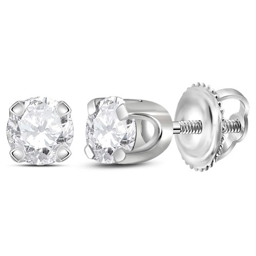 14kt White Gold Unisex Round Diamond Solitaire Stud Earrings 1/4 Cttw - 12593