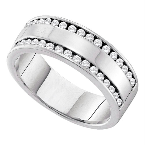 14kt White Gold Womens Round Channel-set Diamond Double Row Wedding Band 1/2 Cttw