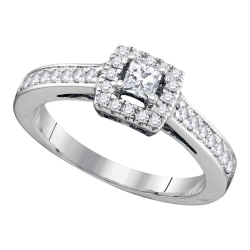 14kt White Gold Womens Princess Diamond Solitaire Bridal Wedding Engagement Ring 1/2 Cttw - 73062-5.5