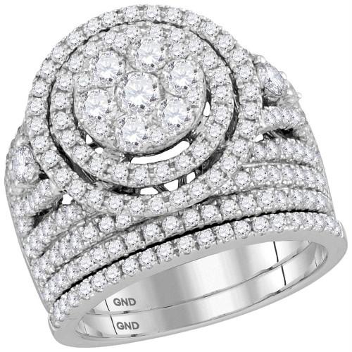 14kt White Gold Womens Round Diamond Flower Cluster Halo Bridal Wedding Engagement Ring Band Set 2-3/4 Cttw