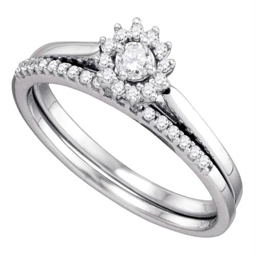 10k White Gold Round Diamond Womens Halo Wedding Bridal Ring Set 1/4 Cttw