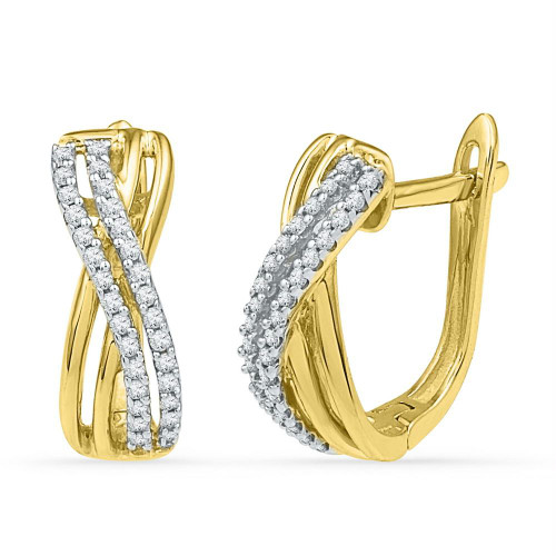 10kt Yellow Gold Womens Round Diamond Hoop Earrings 1/5 Cttw - 99832