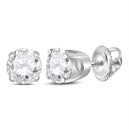 14kt White Gold Unisex Round Diamond Solitaire Stud Earrings 3/4 Cttw - 12204