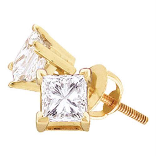 14kt Yellow Gold Unisex Princess Diamond Solitaire Stud Earrings 3/8 Cttw