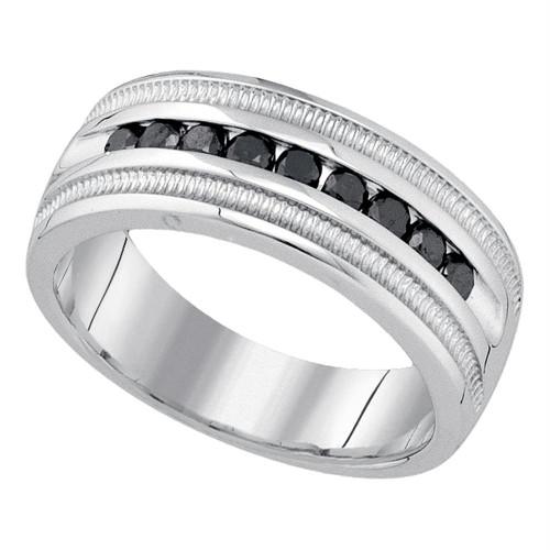 10kt White Gold Mens Round Black Color Enhanced Diamond Wedding Band Ring 1/2 Cttw - 79243-9