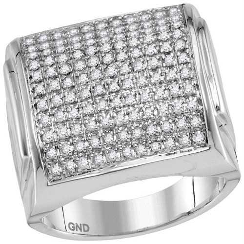 10kt White Gold Mens Round Diamond Domed Square Cluster Ring 1.00 Cttw