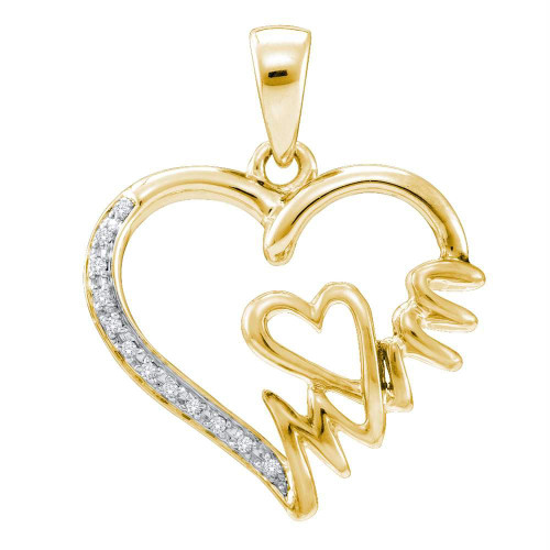 Yellow-tone Sterling Silver Womens Round Diamond Mom Heart Pendant 1/20 Cttw