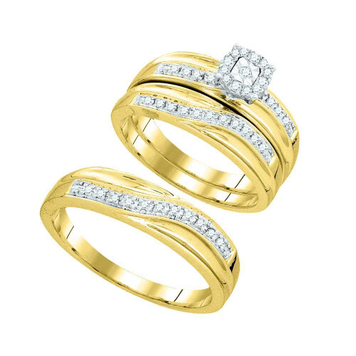 10k Yellow Gold Round Diamond Matching Trio Mens Womens Wedding Bridal Ring Set 1/3 Cttw - 93852-7.5