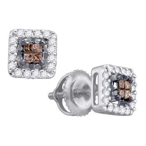 10k White Gold Womens Cognac-brown Color Enhanced Princess Diamond Stud Square Screwback Earrings 1/3 Cttw