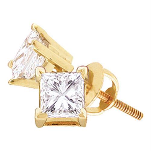 14kt Yellow Gold Unisex Princess Diamond Solitaire Stud Earrings 7/8 Cttw