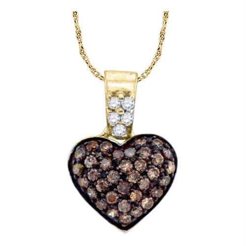 10k Yellow Gold Cognac-brown Color Enhanced Round Cluster Diamond Womens Heart Pendant 3/8 Cttw