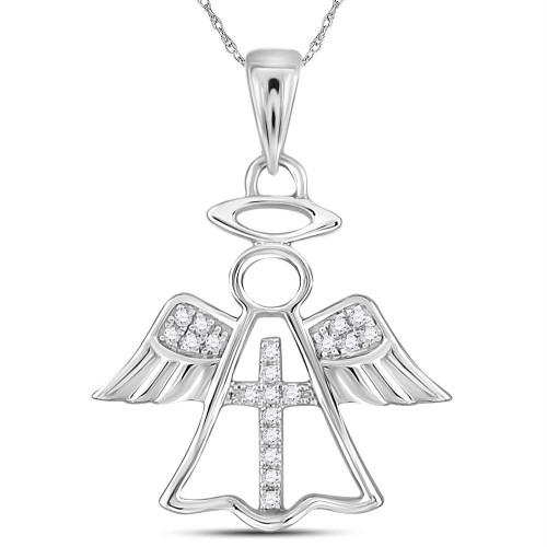 14kt White Gold Womens Round Diamond Angel Cross Religious Pendant 1/20 Cttw