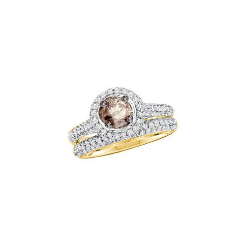 14kt Yellow Gold Womens Round Cognac-brown Color Enhanced Diamond Bridal Wedding Engagement Ring Set Size 5
