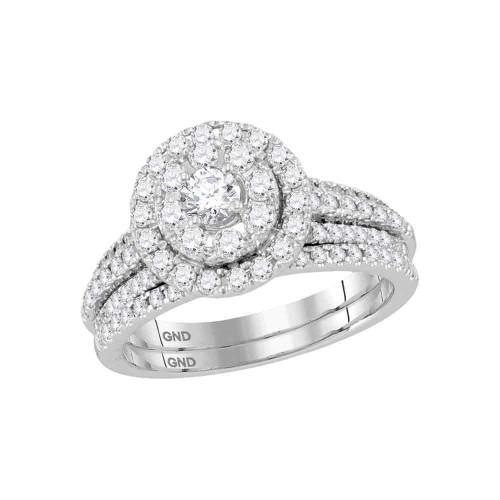 14kt White Gold Womens Round Diamond Halo Bridal Wedding Engagement Ring Band Set 1.00 Cttw - 118473