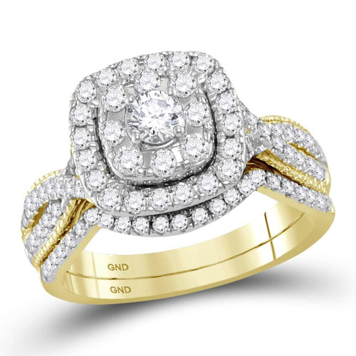 14kt Yellow Gold Womens Round Diamond Halo Bridal Wedding Engagement Ring Band Set 1.00 Cttw - 118483