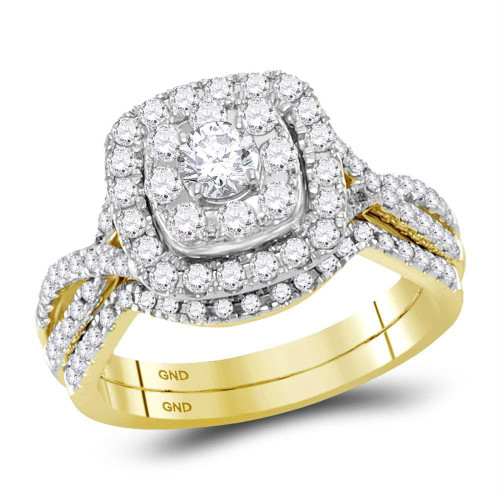 14kt Yellow Gold Womens Round Diamond Halo Bridal Wedding Engagement Ring Band Set 1.00 Cttw - 118467