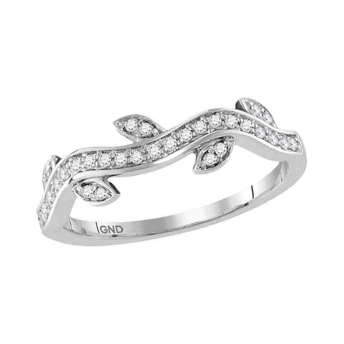 10kt White Gold Womens Round Diamond Vine Floral Stackable Band Ring 1/6 Cttw