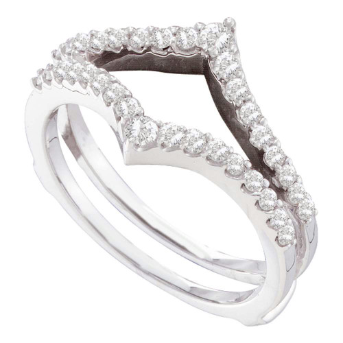 14kt White Gold Womens Round Diamond Ring Guard Wrap Enhancer Wedding Band 1/2 Cttw - 46753-5.5