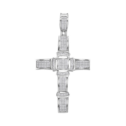 10kt White Gold Mens Round Diamond Segmented Christian Cross Charm Pendant 1/2 Cttw