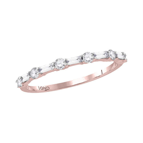 10kt Rose Gold Womens Round Baguette Diamond Stackable Band Ring 1/3 Cttw