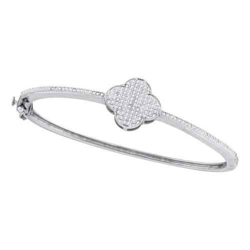10kt White Gold Womens Round Diamond Quatrefoil Cluster Bangle Bracelet 3/8 Cttw
