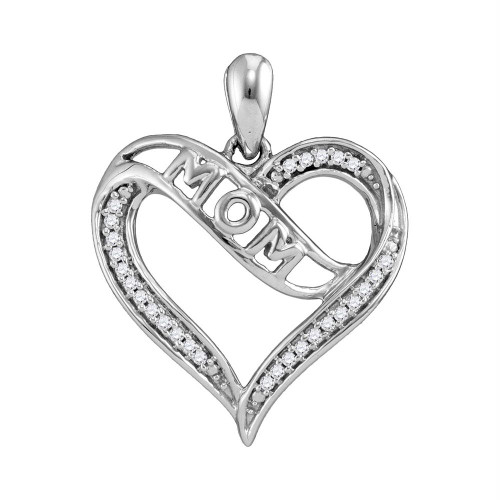 Sterling Silver Womens Round Diamond Mom Mother Heart Pendant 1/8 Cttw - 108599