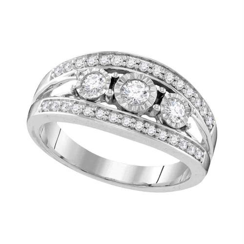 10kt White Gold Womens Round Diamond 3-stone Bridal Wedding Engagement Ring 1/2 Cttw - 109555-7.5
