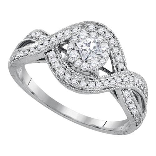 14kt White Gold Womens Princess Diamond Solitaire Twist Bridal Wedding Engagement Ring 1/2 Cttw - 91739