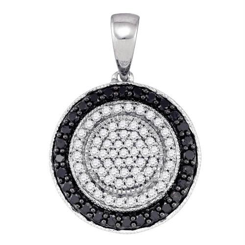 10K White Gold Black Color Enhanced Round Diamond Womens Circle Pendant 1/2 Cttw