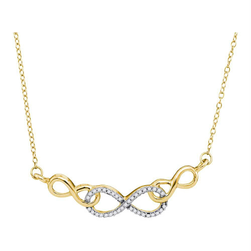 10kt Yellow Gold Womens Round Diamond Infinity Pendant Necklace 1/5 Cttw - 91058