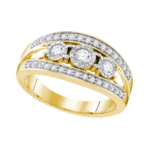 10kt Yellow Gold Womens Round Diamond 3-stone Bridal Wedding Engagement Ring 1/2 Cttw - 109554-6.5