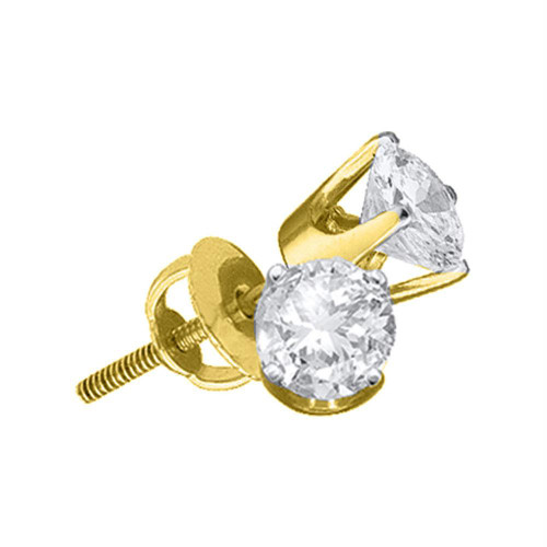 14kt Yellow Gold Unisex Round Diamond Solitaire Stud Earrings 7/8 Cttw - 42212