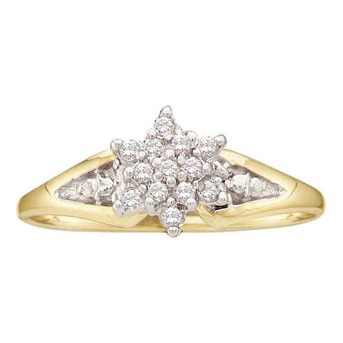 10kt Yellow Gold Womens Round Diamond Star Cluster Ring 1/10 Cttw