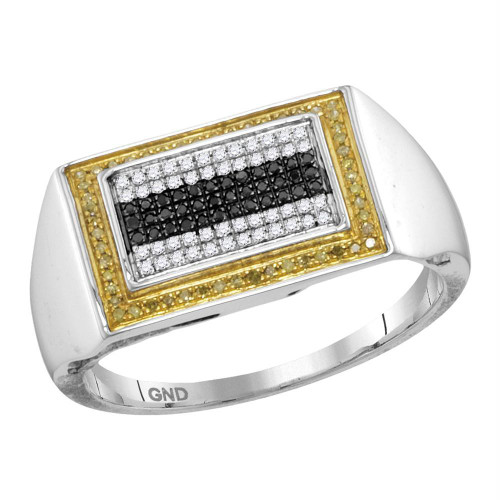 10kt White Gold Mens Round Black Yellow Color Enhanced Diamond Rectangle Cluster Ring 1/4 Cttw