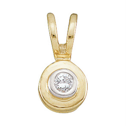 10kt Yellow Gold Womens Round Diamond Solitaire Circle Pendant .03 Cttw