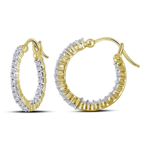 10kt Yellow Gold Womens Round Diamond Inside Outside Hoop Earrings 1-3/8 Cttw