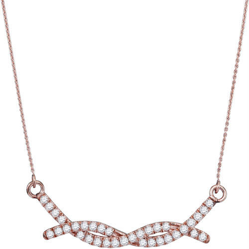 10kt Rose Gold Womens Round Diamond Twist Bar Fashion Necklace 1/2 Cttw