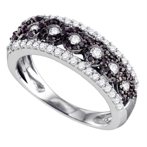 10k White Gold Womens Black Color Enhanced Diamond Circular Band Ring 3/4 Cttw