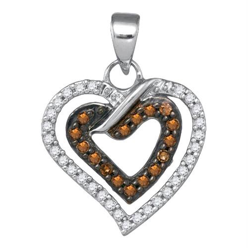 10kt White Gold Womens Round Cognac-brown Color Enhanced Diamond Double Heart Love Pendant 1/4 Cttw