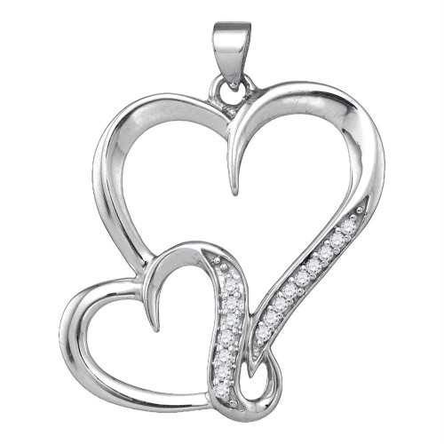 Sterling Silver Womens Round Diamond Double Heart Love Pendant 1/10 Cttw - 86993