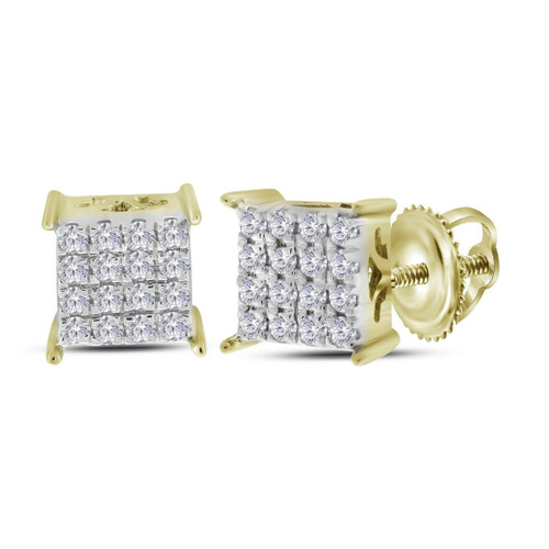 10kt Yellow Gold Womens Round Diamond Square Cluster Stud Earrings 1/4 Cttw - 113156