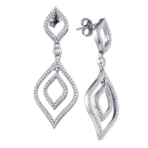 10k White Gold Womens Round Diamond Screwback Stud Dangle Oval Earrings 3/4 Cttw
