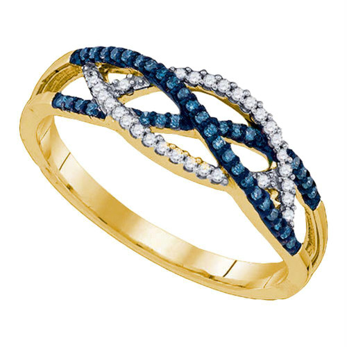 10kt Yellow Gold Womens Round Blue Color Enhanced Diamond Crossover Band Ring 1/5 Cttw