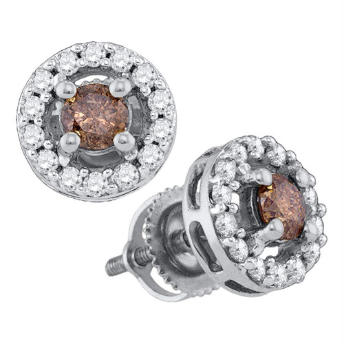 10k White Gold Womens Cognac-brown Color Enhanced Round Diamond Screwback Stud Earrings 3/4 Cttw