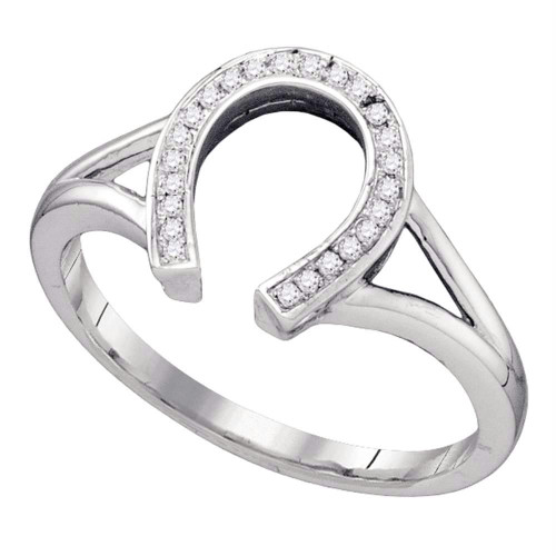 10kt White Gold Womens Round Diamond Lucky Horseshoe Ring 1/12 Cttw