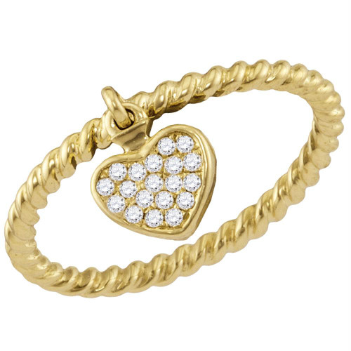 14kt Yellow Gold Womens Round Diamond Heart Dangle Stackable Band Ring 1/10 Cttw