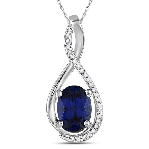 Sterling Silver Womens Oval Lab-Created Blue Sapphire Solitaire Diamond-accent Pendant 1-5/8 Cttw